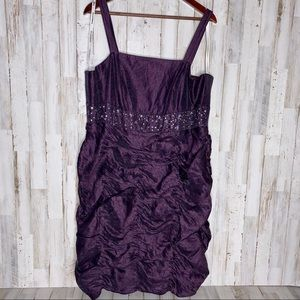 David's Bridal Purple Satin Sequins Party Dress